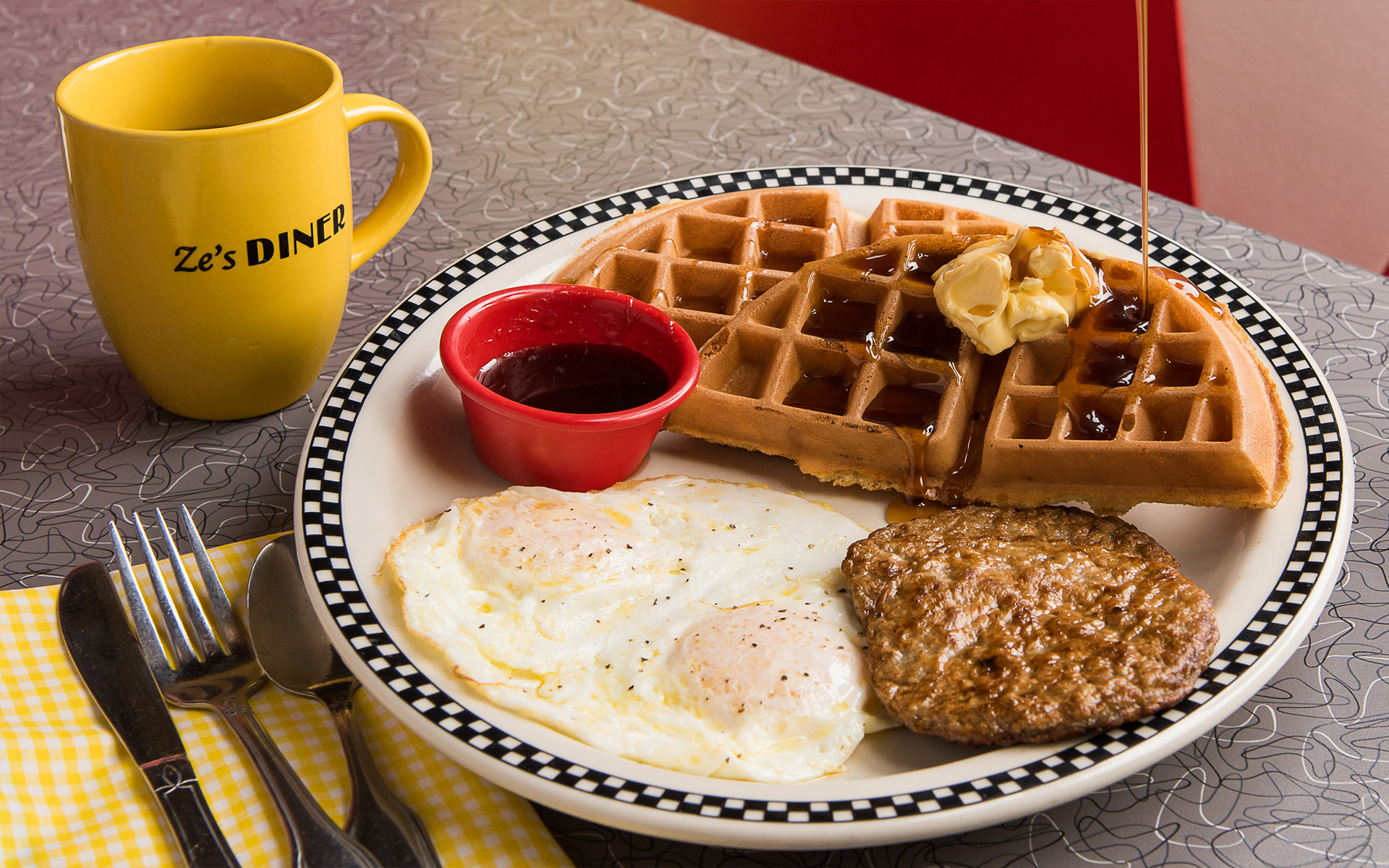 Eggs, Waffles, Sausage, Breakfast & Coffee