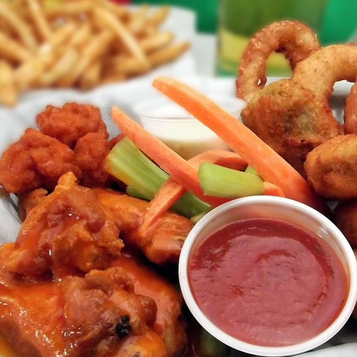 Appetizers: Chicken Wings, Onion Rings, French Fries